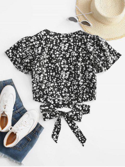 ladies Ditsy Print Surplice Tie Hem Crop Blouse - BLACK L Mobile