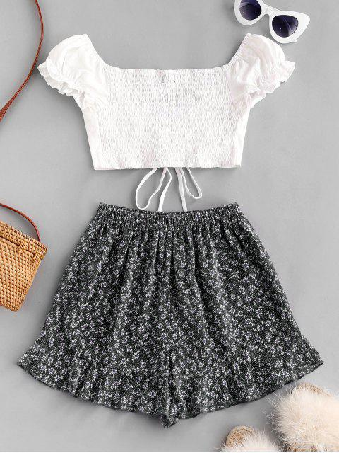 buy Ditsy Print Cinched Ruffle Loose Shorts Set - BLACK M Mobile