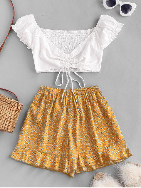 women's Ditsy Print Cinched Ruffle Loose Shorts Set - YELLOW S Mobile