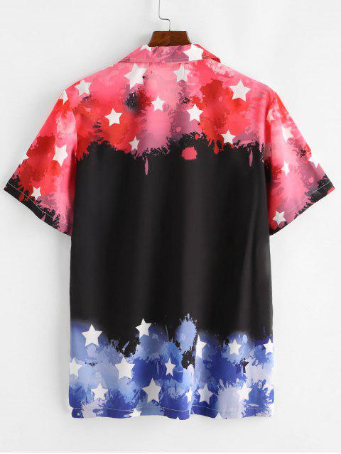 buy Star Color Blocking Short Sleeves Shirt - BLACK S Mobile