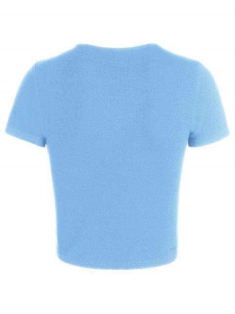unique ZAFUL Cinched V Neck Crop T Shirt - SKY BLUE XL Mobile