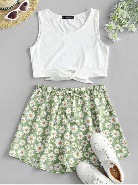 best Tie Hem Daisy Print Bowknot Wide Leg Shorts Set - LIGHT GREEN S Mobile