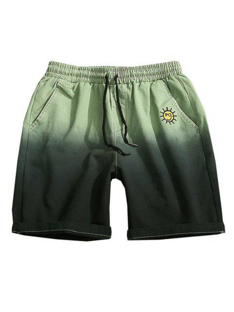 online Embroidery Pattern Ombre Print Drawstring Shorts - LIGHT GREEN XS Mobile