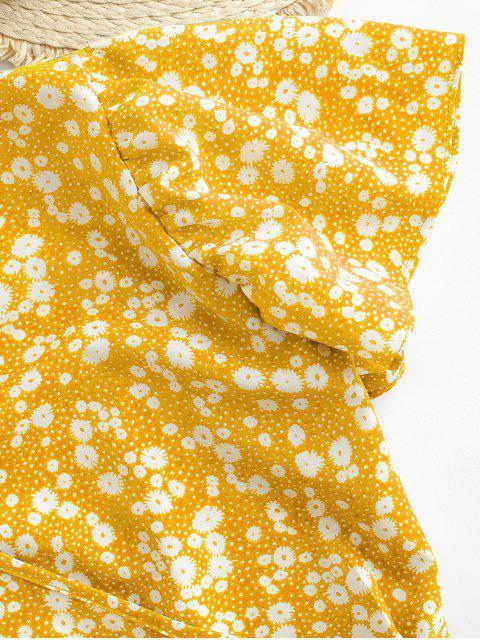 best Ditsy Print Surplice Tie Hem Crop Blouse - YELLOW M Mobile