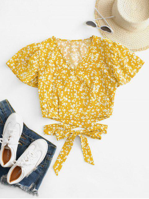 hot Ditsy Print Surplice Tie Hem Crop Blouse - YELLOW S Mobile