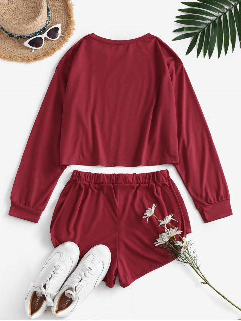 lady Last Night Graphic Long Sleeve Co Ord Set - DEEP RED M Mobile