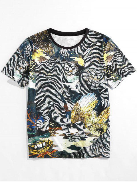 sale ZAFUL Animal Print Round Neck Oriental T-shirt - BLACK 2XL Mobile