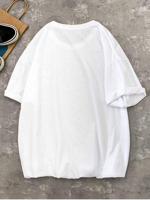 Camiseta running manga comprida estampa geometrica - Branco XL Mobile