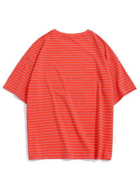Camiseta Al Hombro Rayas - Rojo M Mobile