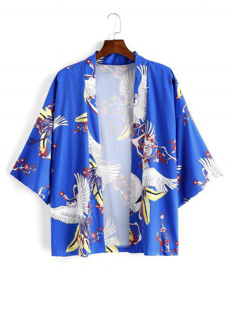 new Flying Crane Floral Oriental Kimono Cardigan - BLUE 2XL Mobile