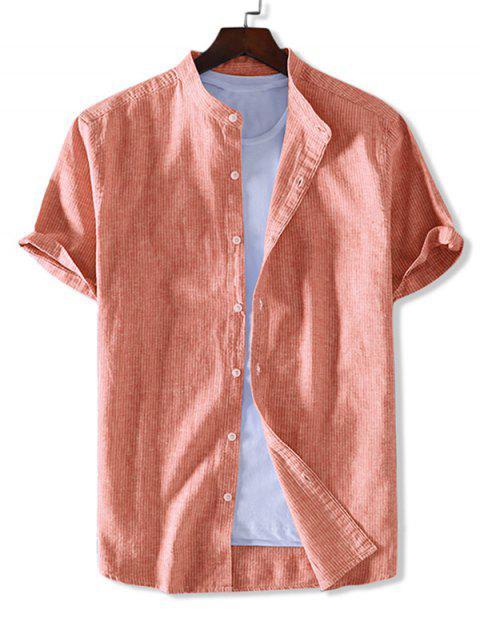 shop ZAFUL Striped Print Button Short Sleeves Shirt - DARK ORANGE M Mobile