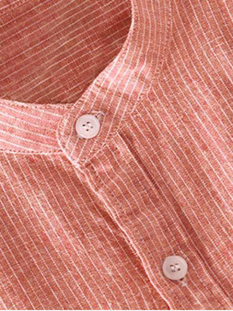 trendy ZAFUL Striped Print Button Short Sleeves Shirt - DARK ORANGE 2XL Mobile