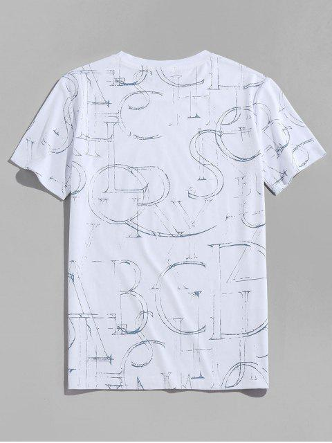 Ink Letter Print Short Sleeve Crew Neck T-shirt - أبيض XL Mobile