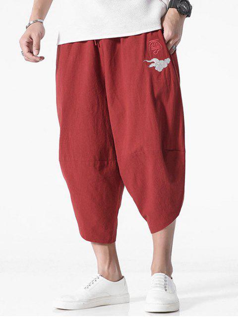 Pantalones Recortados Bordado Chino - Vino Tinto 2XL Mobile