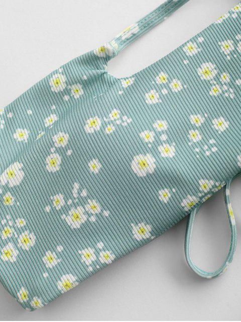 affordable ZAFUL Ditsy Floral Lace-up Bandeau Ribbed Bikini Swimwear - LIGHT GREEN L Mobile