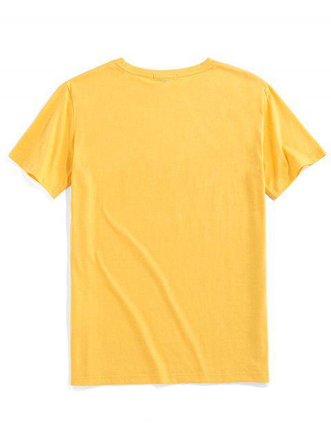 ZAFUL T-shirt Bordado de Impressão Floral - Amarelo S Mobile
