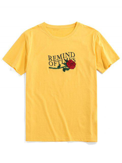 ZAFUL T-shirt Bordado de Impressão Floral - Amarelo L Mobile