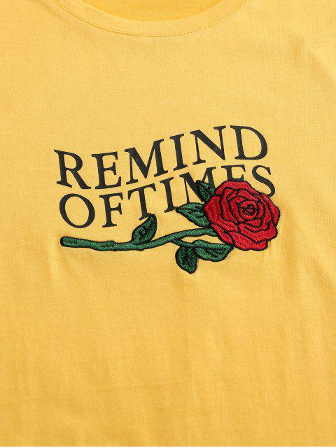 outfits ZAFUL Flower Embroidered Letter Print T-shirt - YELLOW XL Mobile