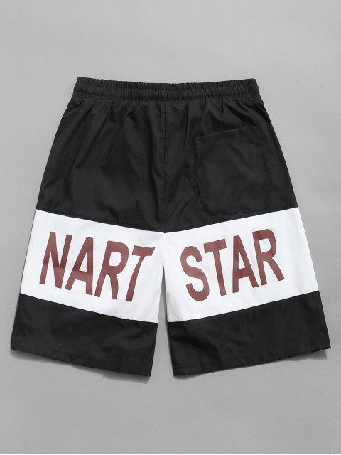 shops Letter Print Colorblock Drawstring Shorts - BLACK M Mobile