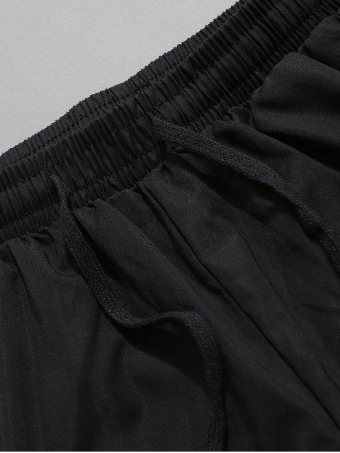 chic Letter Print Colorblock Drawstring Shorts - BLACK 3XL Mobile
