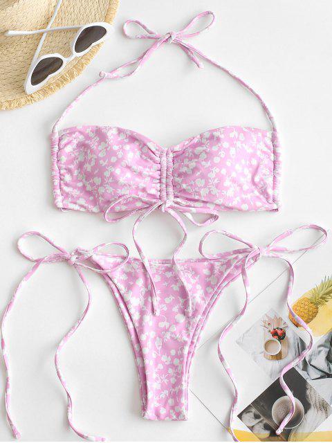 ZAFUL Bikini Fruncido de Corte Alto con Estampado de Flor - Rosa Claro S Mobile