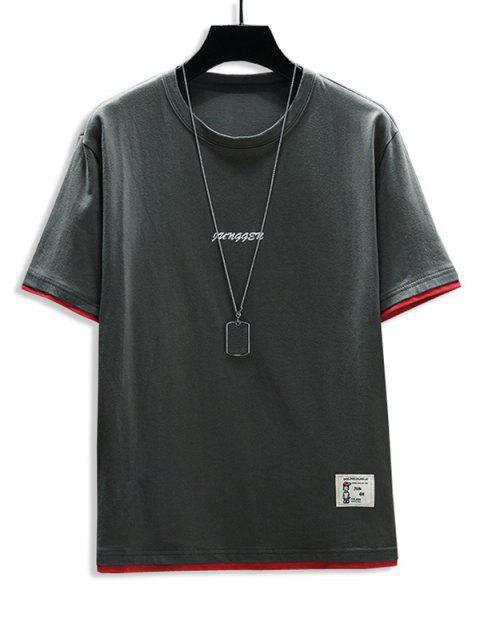 Letter Print 2fer Applique T-shirt - الرمادي الداكن 2XL Mobile
