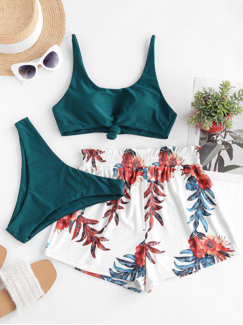 ZAFUL Bikini de Tres Piezas con Nudo Acanalado - Verde Oscuro S Mobile