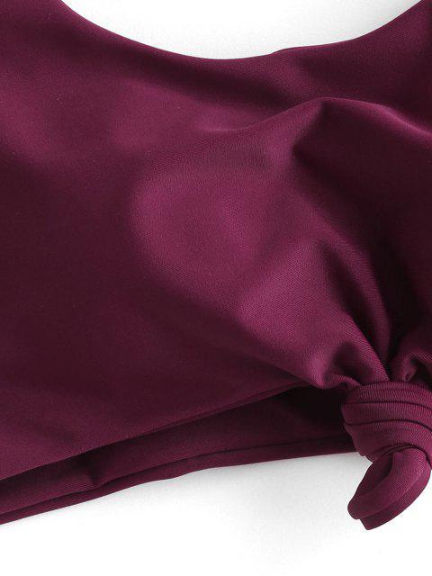 ZAFUL Bikini de Tres Piezas con Nudo Acanalado - Color rojo oscuro S Mobile