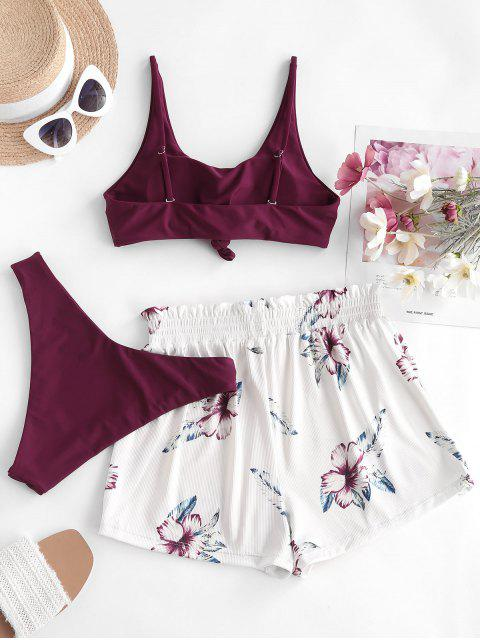 outfits ZAFUL Ribbed Knot Sunflower Three Piece Bikini Swimsuit - DEEP RED M Mobile