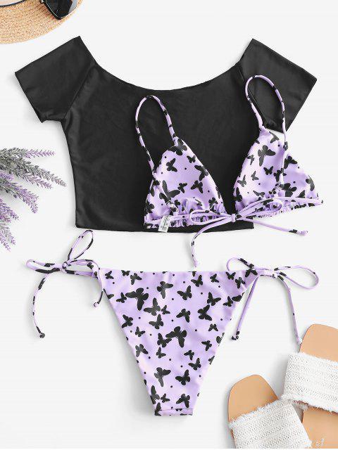 ZAFUL Bikini de Tres Piezas con Estampado de Mariposa y Hombro Descubierto - purpúreo claro M Mobile