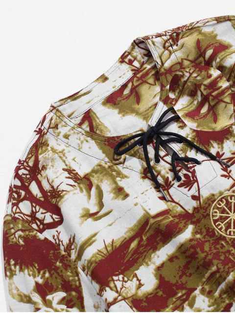 womens Embroidered Decoration Printed Casual T-shirt - DEEP YELLOW 3XL Mobile