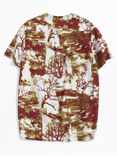 Camiseta Casual con Bordado con Mangas Cortas - Amarillo profundo 2XL Mobile