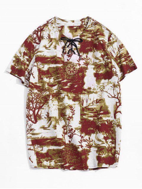 Camiseta Casual con Bordado con Mangas Cortas - Amarillo profundo M Mobile