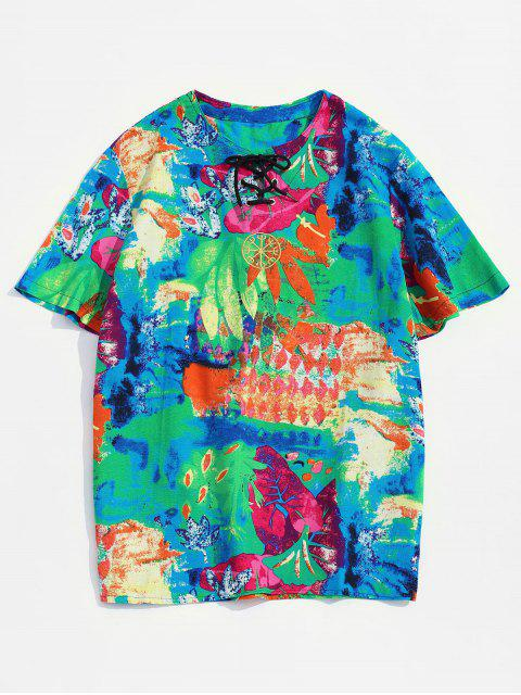 Embroidery Design Painting Print T-shirt - اخضر فاتح 3XL Mobile