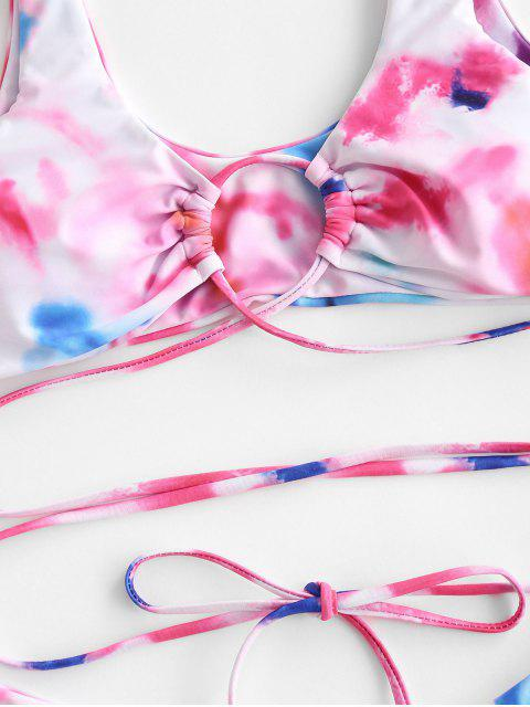trendy ZAFUL Tie Dye Tie-around  High Leg Bikini Swimwear - LIGHT PINK S Mobile