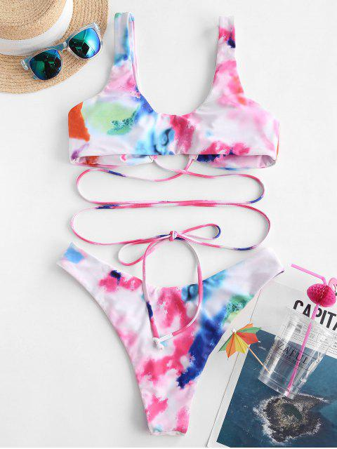 chic ZAFUL Tie Dye Tie-around  High Leg Bikini Swimwear - LIGHT PINK L Mobile