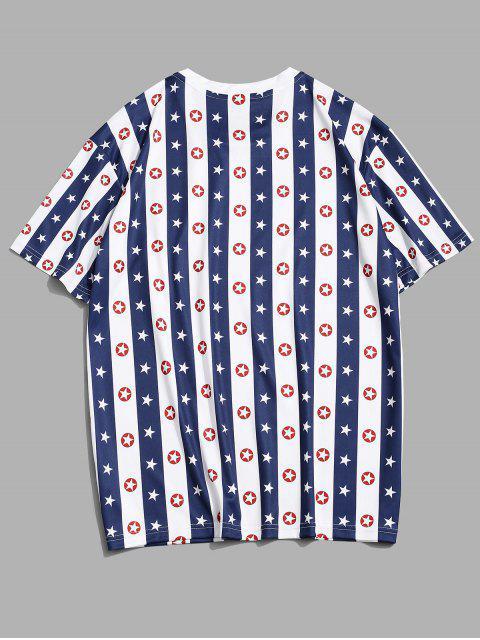 online Striped Star Print Casual T-shirt - COBALT BLUE 2XL Mobile