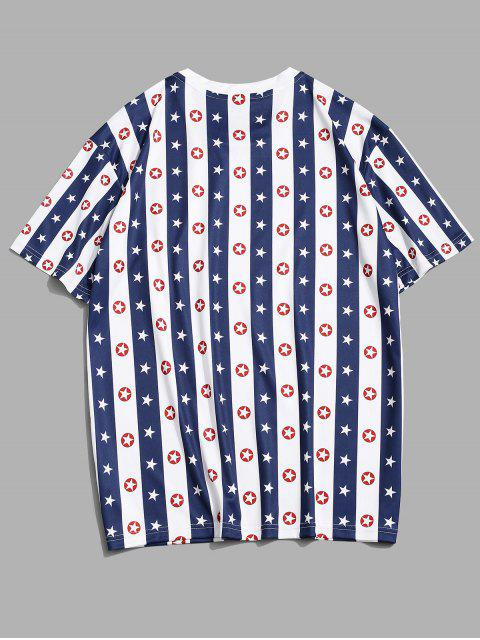 ladies Striped Star Print Casual T-shirt - COBALT BLUE 3XL Mobile