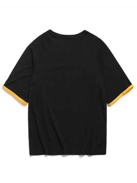 Letter Print Cuffed Sleeve Casual T-shirt - أسود 3XL Mobile