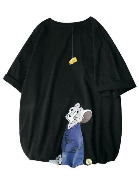 Cartoon Maus Grafik Grundlegendes T-Shirt - Schwarz 2XL Mobile
