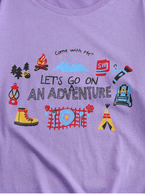 Costilla de Cuello Redondo de Manga Corta de La Camiseta - Púrpura S Mobile