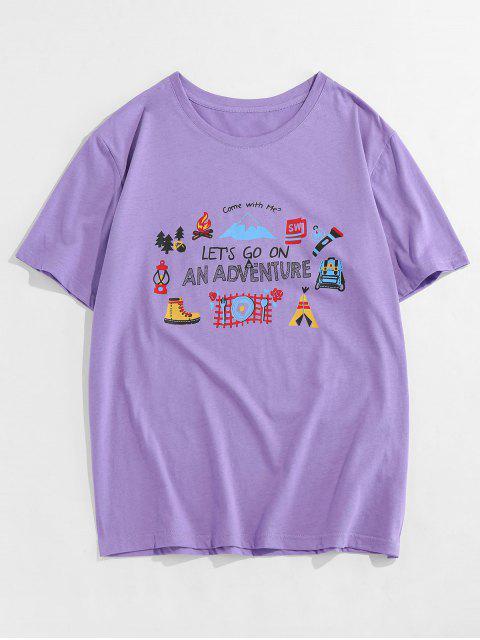 Costilla de Cuello Redondo de Manga Corta de La Camiseta - Púrpura M Mobile