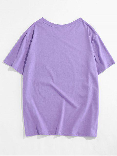 Costilla de Cuello Redondo de Manga Corta de La Camiseta - Púrpura L Mobile