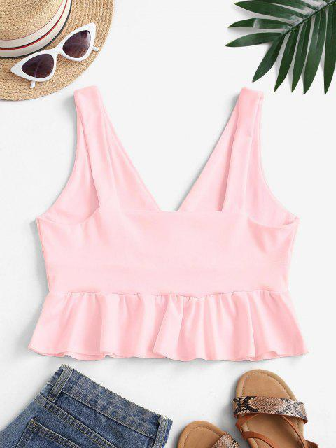 sale Plunge Ruffle Tank Top - LIGHT PINK L Mobile