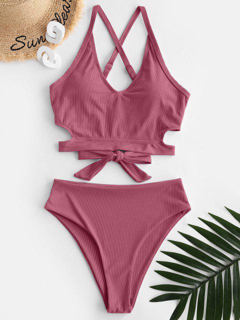 trendy ZAFUL Ribbed Criss Cross High Waisted Tankini Swimwear - LIGHT PINK L Mobile
