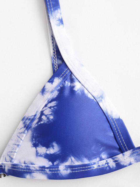 best ZAFUL Tie Dye High Leg Bikini Swimwear - DEEP BLUE S Mobile