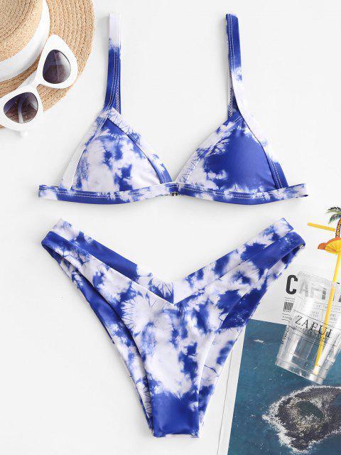 new ZAFUL Tie Dye High Leg Bikini Swimwear - DEEP BLUE L Mobile