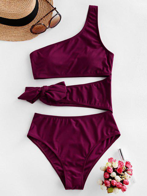 fashion ZAFUL Cutout One Shoulder Tie One-piece Swimsuit - PLUM PIE M Mobile