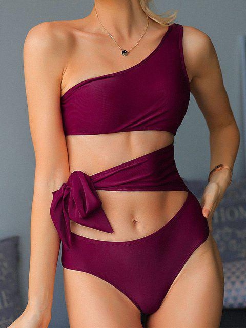 fashion ZAFUL Cutout One Shoulder Tie One-piece Swimsuit - PLUM PIE XL Mobile