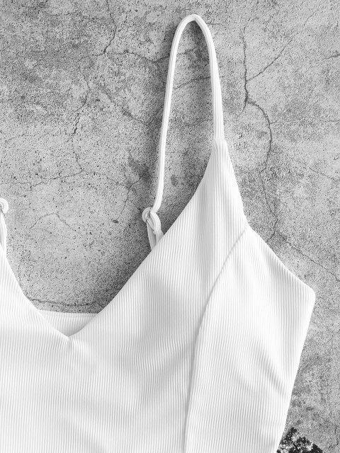 women's ZAFUL Ribbed Cropped Bikini Top - WHITE S Mobile